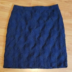 Ann Taylor navy black floral textured skirt lined